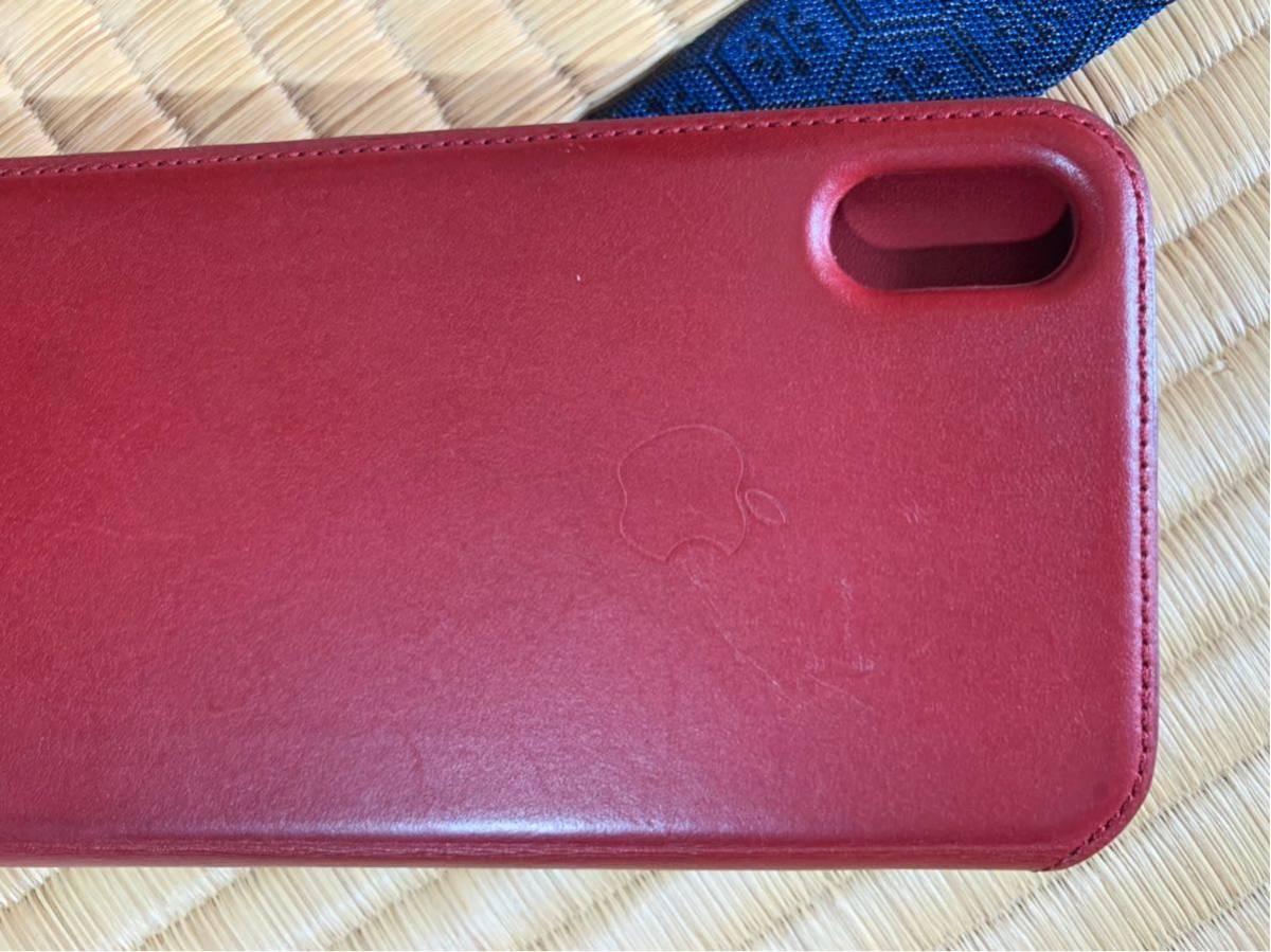 iPhone XS MAX Leather Folio レザーフォリオ スマホカバー スマホケース レッド 中古_画像5