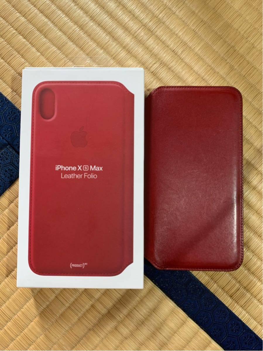 iPhone XS MAX Leather Folio レザーフォリオ スマホカバー スマホケース レッド 中古