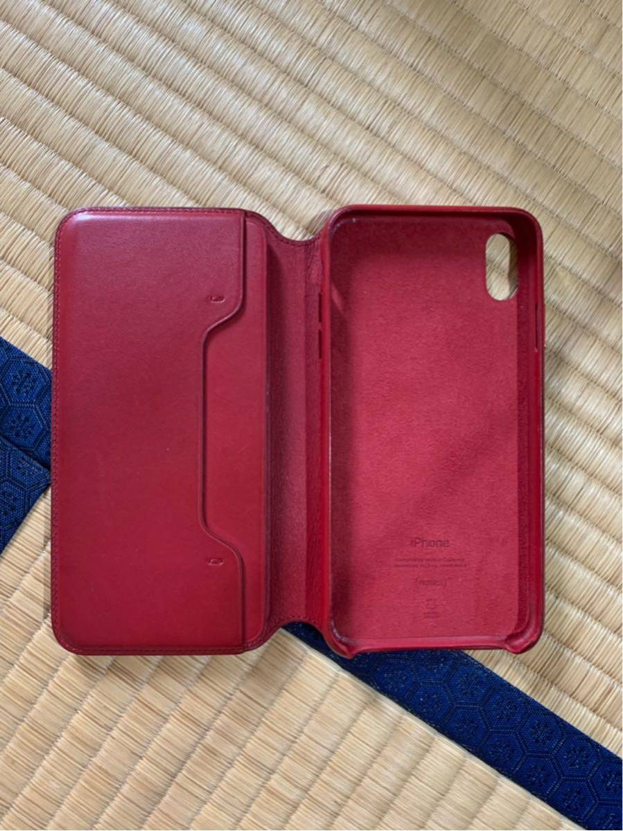 iPhone XS MAX Leather Folio レザーフォリオ スマホカバー スマホケース レッド 中古_画像2