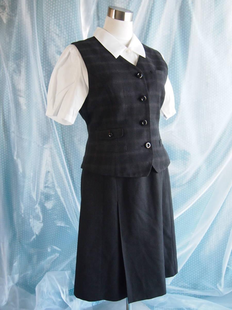 OL制服・事務服ALPHAPIER濃グレー格子ベスト・濃グレースカート 15号