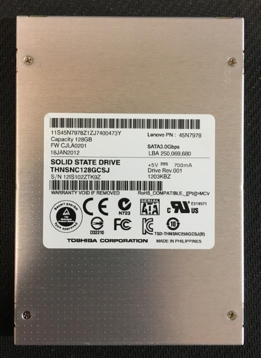中古SSD ノート PC使用 SATA TOSHIBA 2.5インチ 128GB 動作確認済み