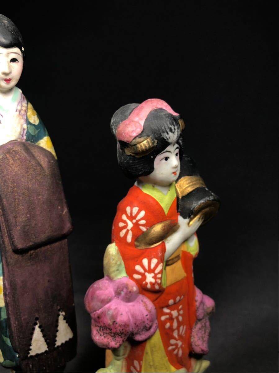 昭和レトロ 大正ロマン 少女 磁器人形 乙女頃 着物 日本人形 検 戦前 土人形 射的人形 モボモガ モダンガール 当時物 春画 ドール_画像7