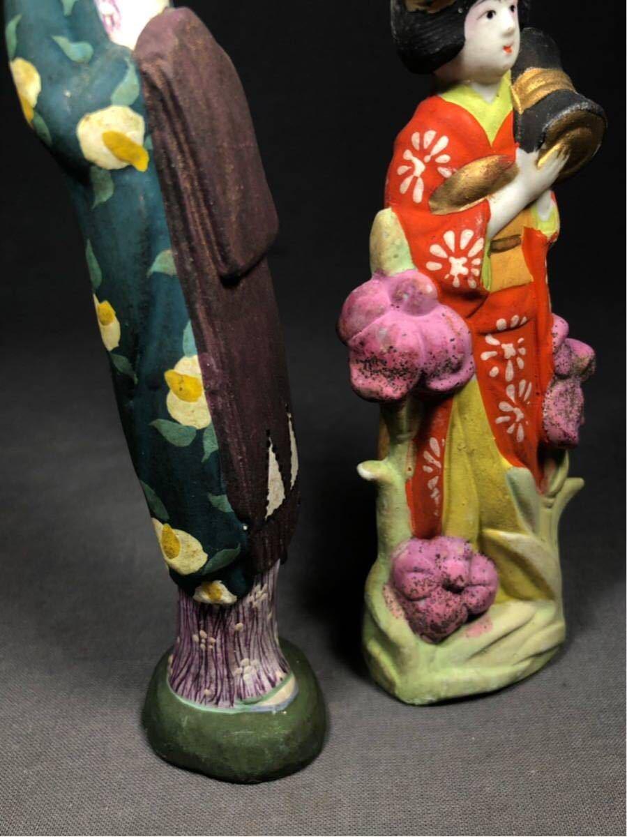 昭和レトロ 大正ロマン 少女 磁器人形 乙女頃 着物 日本人形 検 戦前 土人形 射的人形 モボモガ モダンガール 当時物 春画 ドール_画像8
