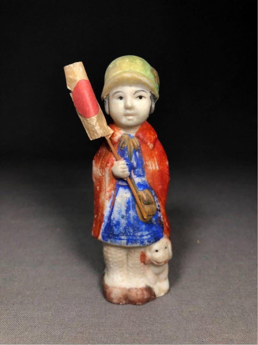 昭和レトロ 大正ロマン 博多人形 国旗 少女 磁器人形 乙女頃 着物 日本人形 箱付 検 戦前 射的人形 モボモガ モダンガール 当時物 ドール_画像2