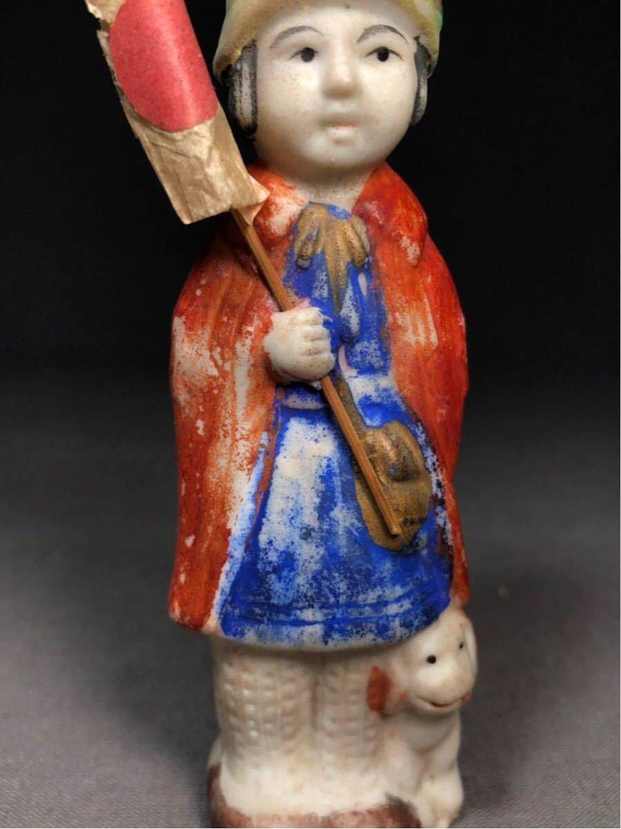 昭和レトロ 大正ロマン 博多人形 国旗 少女 磁器人形 乙女頃 着物 日本人形 箱付 検 戦前 射的人形 モボモガ モダンガール 当時物 ドール_画像7