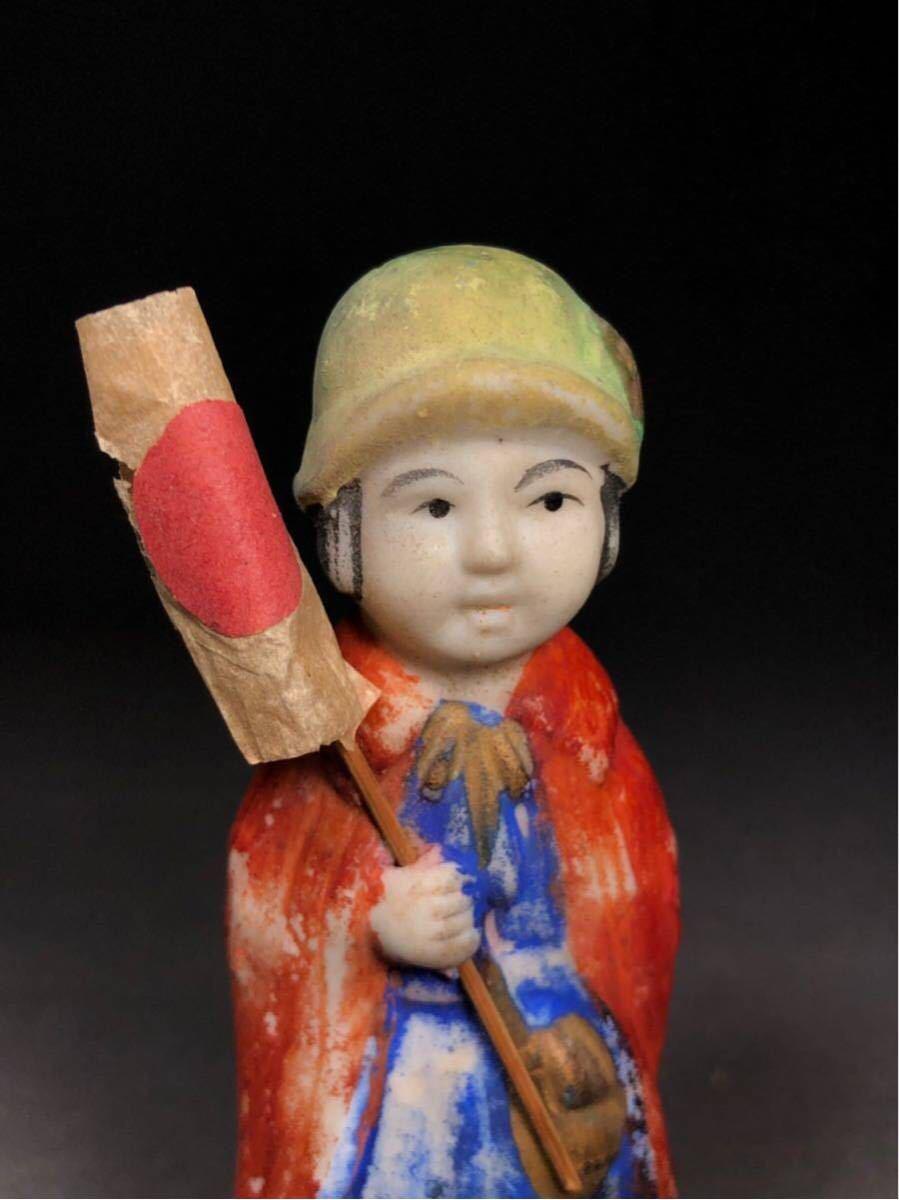 昭和レトロ 大正ロマン 博多人形 国旗 少女 磁器人形 乙女頃 着物 日本人形 箱付 検 戦前 射的人形 モボモガ モダンガール 当時物 ドール_画像6