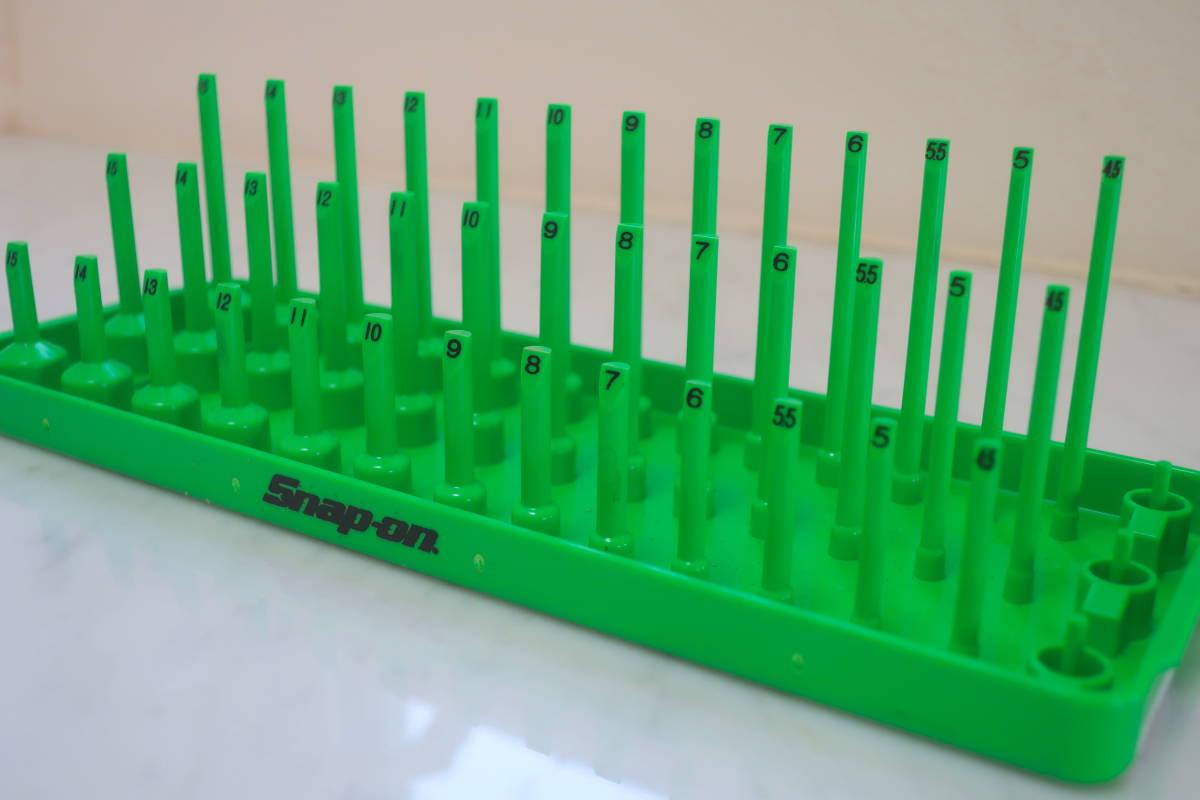 Snap-on 新品 1/4 3列ソケットホルダー グリーン ショート セミディープ ディープ スナップオン_画像2