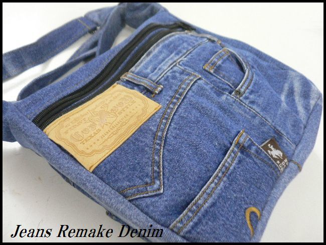 jeans remake Denim shoulder man and woman use /1 point only hand made bag