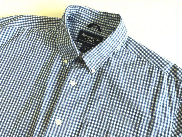 【アバクロンビー&フィッチ / アバクロ (Abercrombie&Fitch)】長袖ギンガムチェックシャツ size:L(XL-3L相当) ※185円で全国発送可