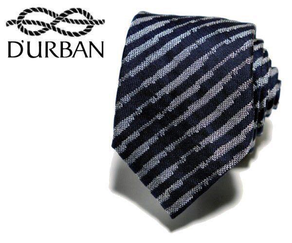 【Q-12】新品*D'URBAN ダーバン*定価17,280円*イタリア製*絹100%*シルクネクタイ*ストライプ*ネイビー系