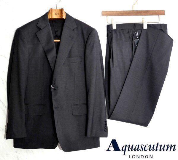【S-37】新品*Aquascutum*定価172,800円*日本製*春夏*AQUA LIGHT*高級シルク混ウールスーツ*ダークグレー*AB5
