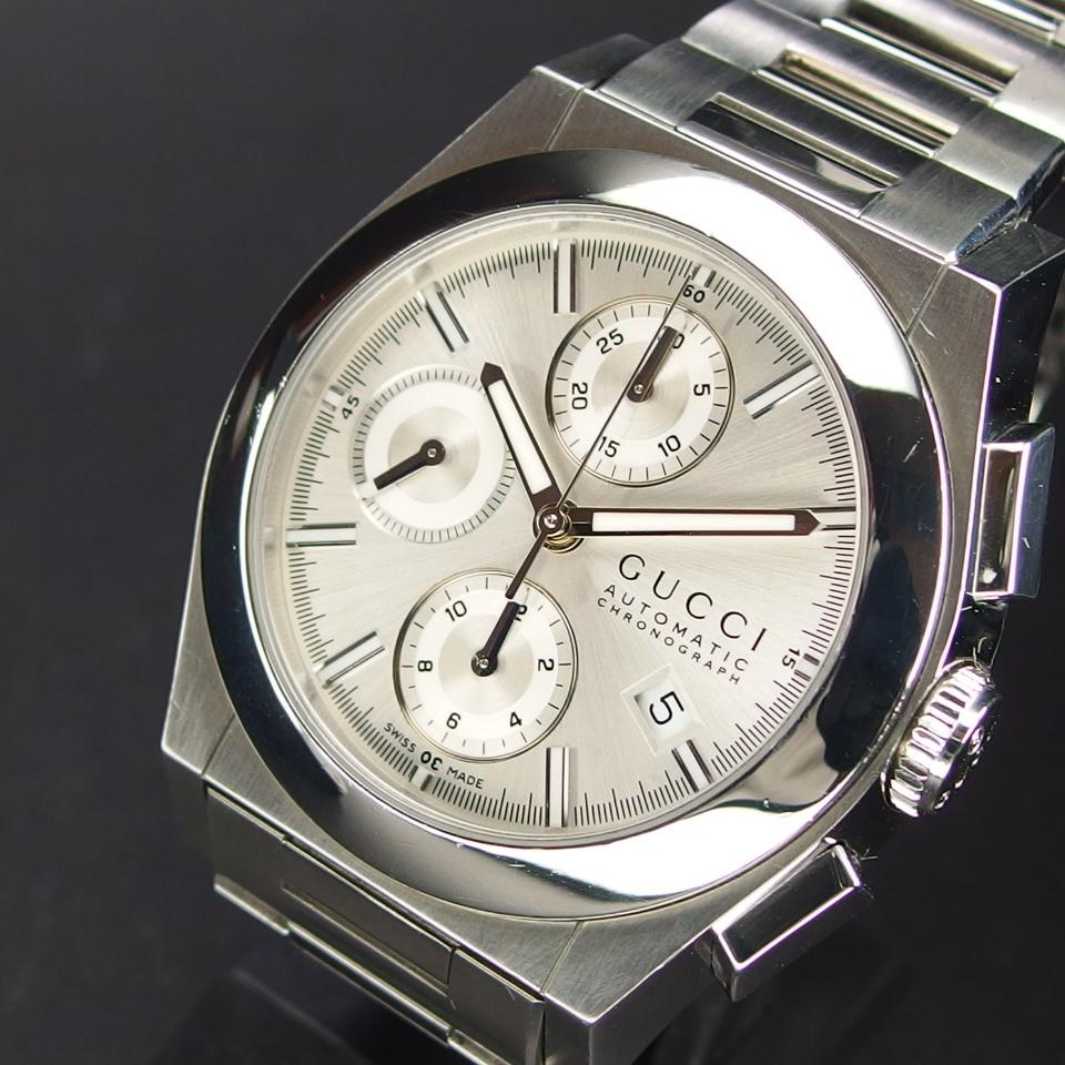 【レアモデル バックスケルトン クロノグラフ】 GUCCI グッチ PANTHEON パンテオン 115.2 自動巻き SS メンズ 腕時計 純正BOX付き