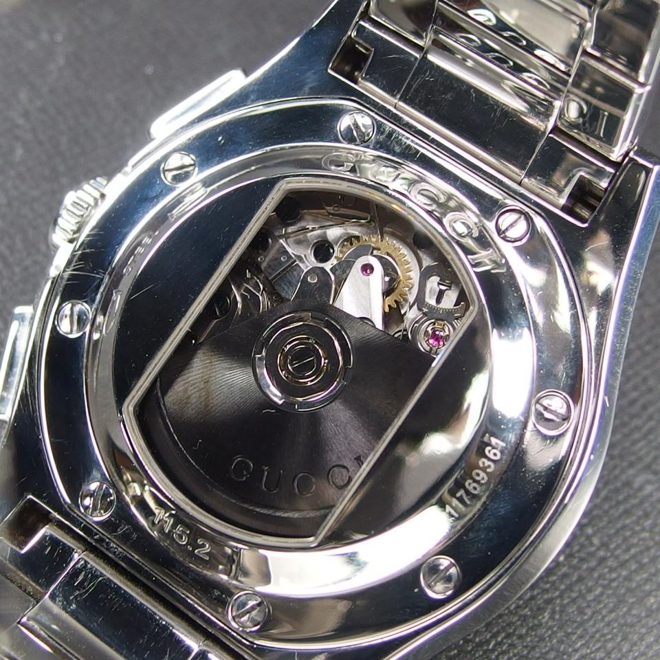 【レアモデル バックスケルトン クロノグラフ】 GUCCI グッチ PANTHEON パンテオン 115.2 自動巻き SS メンズ 腕時計 純正BOX付き_画像9