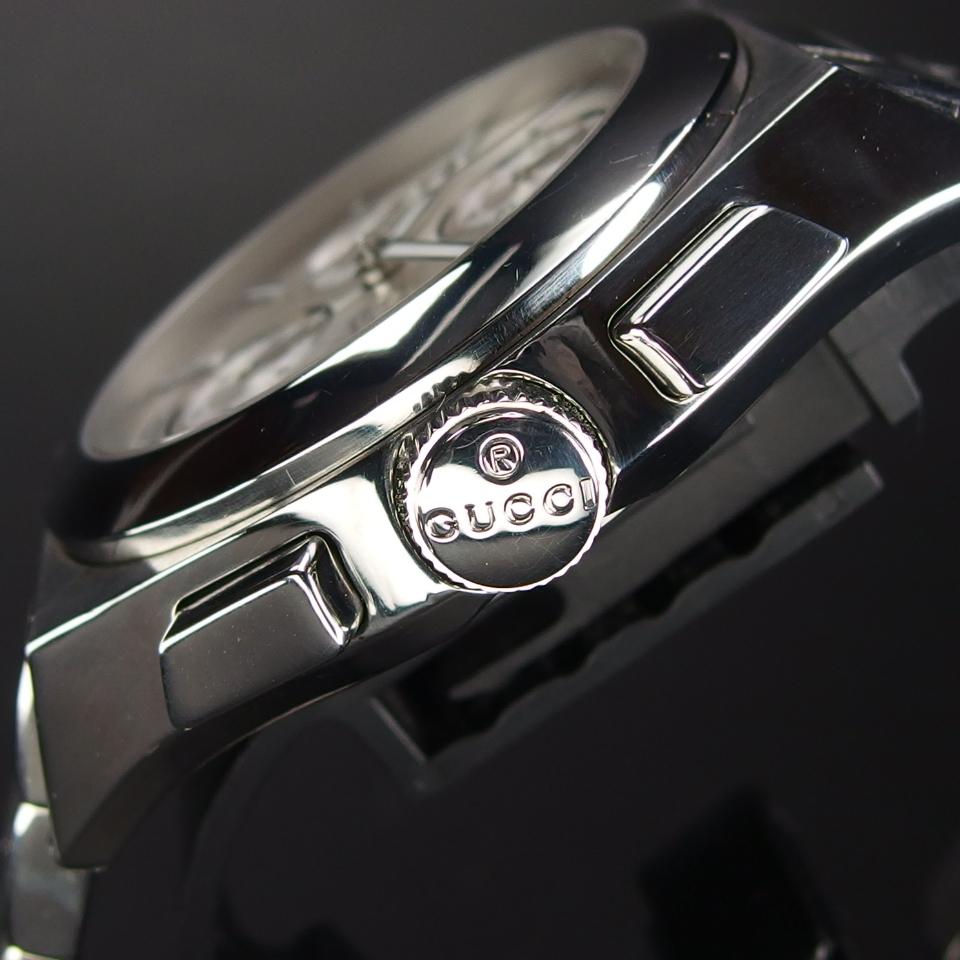 【レアモデル バックスケルトン クロノグラフ】 GUCCI グッチ PANTHEON パンテオン 115.2 自動巻き SS メンズ 腕時計 純正BOX付き_画像4