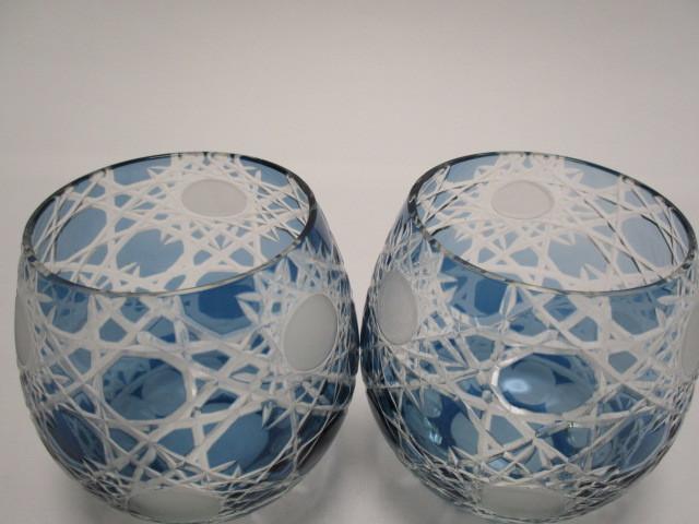 切子 ロックグラス 丸 青 2個 グラス アウトレット品_画像2