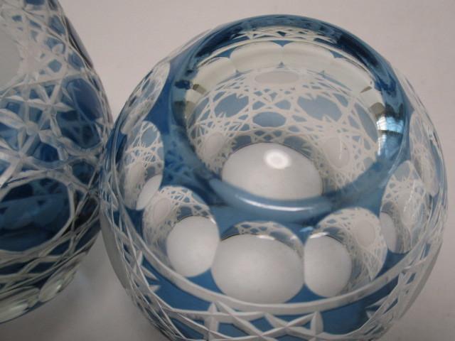 切子 ロックグラス 丸 青 2個 グラス アウトレット品_画像5