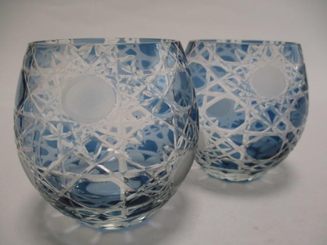 切子 ロックグラス 丸 青 2個 グラス アウトレット品_画像8