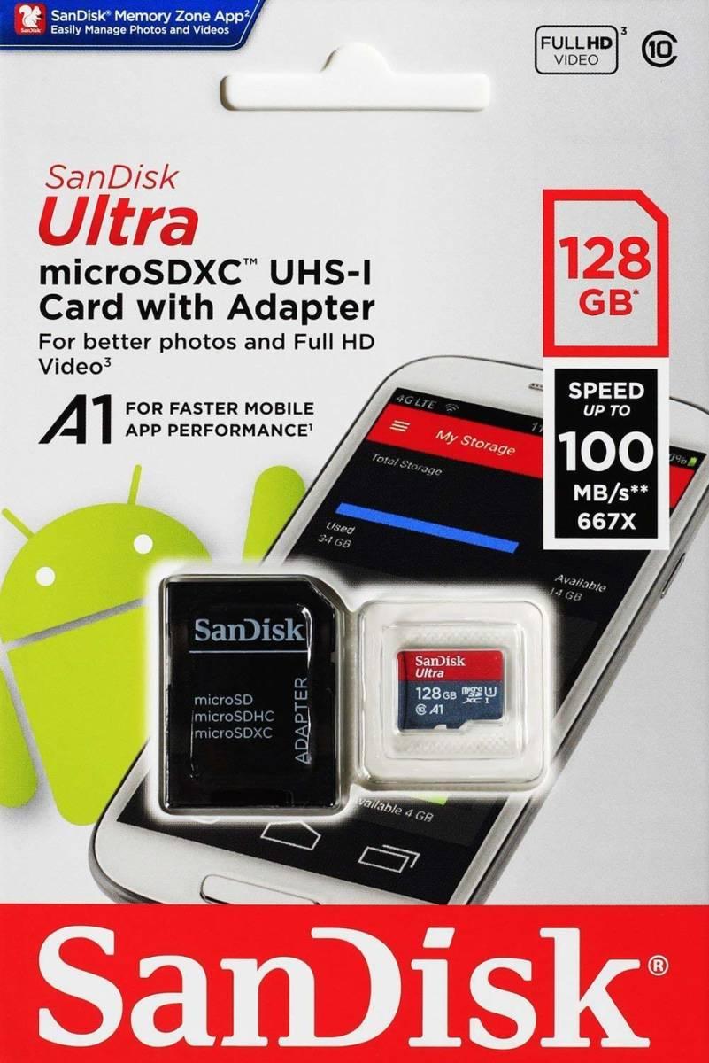 【数量限定】Sandisk Ultra MicroSD 128GB Class10 A1 UHS-1 100MB/s マイクロSD 検 Sandisk Ultra