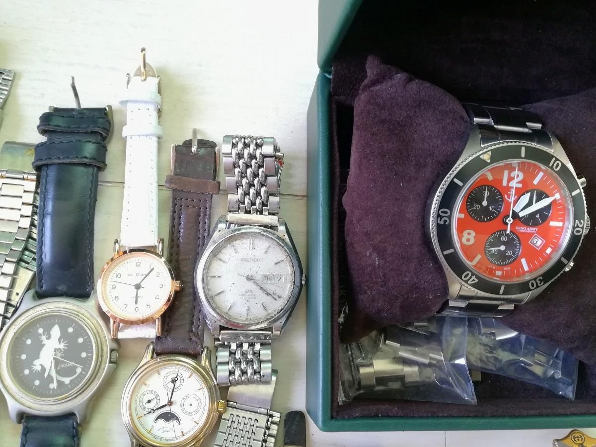 40本 大量 腕時計 セット まとめて SEIKO CITIZEN CASIO GUCCI YSL TECHNOS 等 ヴィンテージ ジャンク_画像2