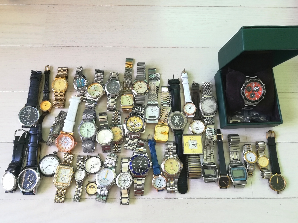 40本 大量 腕時計 セット まとめて SEIKO CITIZEN CASIO GUCCI YSL TECHNOS 等 ヴィンテージ ジャンク