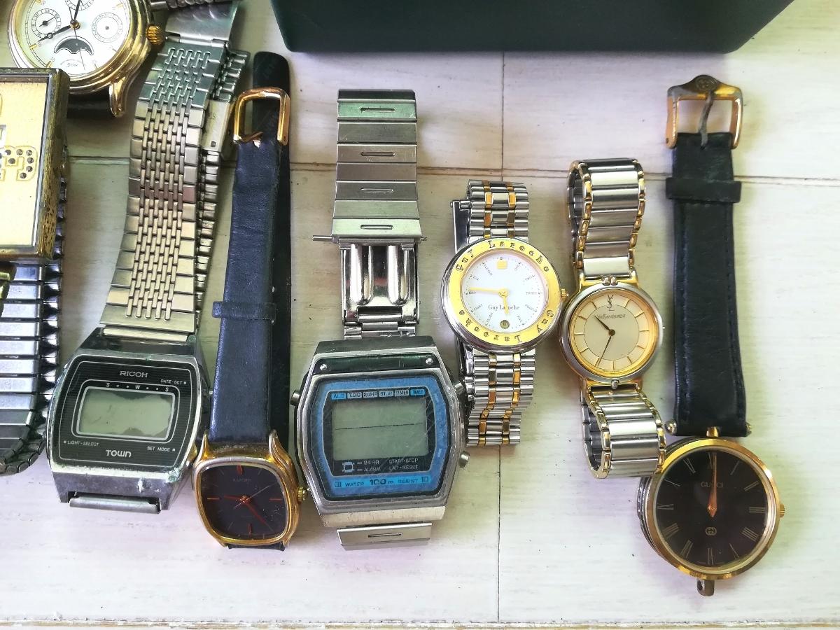 40本 大量 腕時計 セット まとめて SEIKO CITIZEN CASIO GUCCI YSL TECHNOS 等 ヴィンテージ ジャンク_画像3