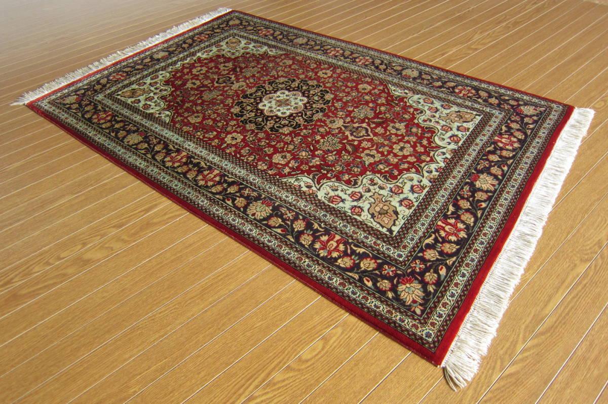 【116×80】シルク100%◆クム産ペルシャ絨毯■1280-300_画像4