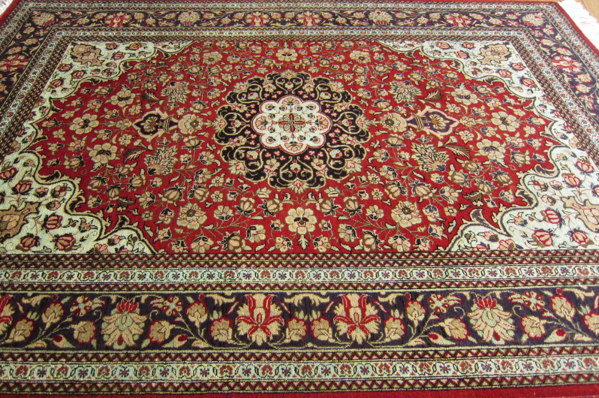 【116×80】シルク100%◆クム産ペルシャ絨毯■1280-300_画像2