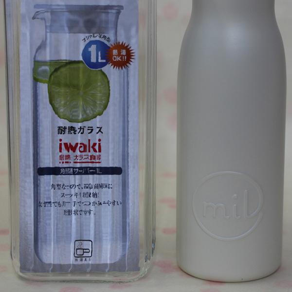 未使用★iwakiイワキ角形サーバー1L耐熱ガラス/milマグボトル480mlステンレス製/toneボトルカバー500mlペットボトル可 まとめてセットで_画像3