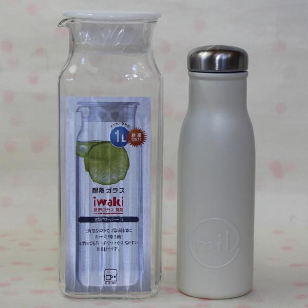 未使用★iwakiイワキ角形サーバー1L耐熱ガラス/milマグボトル480mlステンレス製/toneボトルカバー500mlペットボトル可 まとめてセットで_画像2