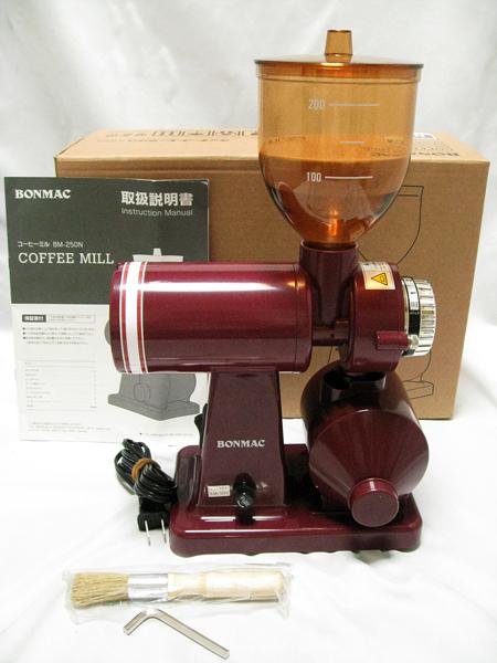 ■ BONMAC コーヒーミル BM-250N レッド 赤 家庭 珈琲 挽く 動作確認済み■