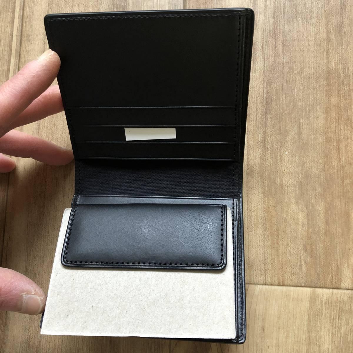 父の日のプレゼントに 無印良品 二つ折り財布 イタリア産ヌメ革 コインポケット付 黒 新品未使用_画像3