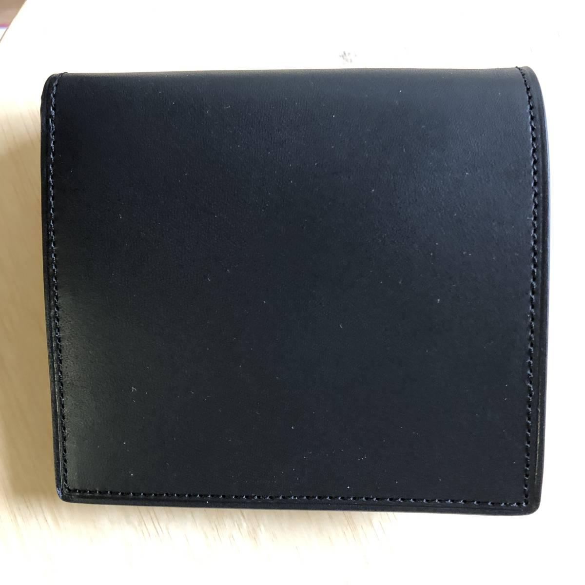 父の日のプレゼントに 無印良品 二つ折り財布 イタリア産ヌメ革 コインポケット付 黒 新品未使用_画像6