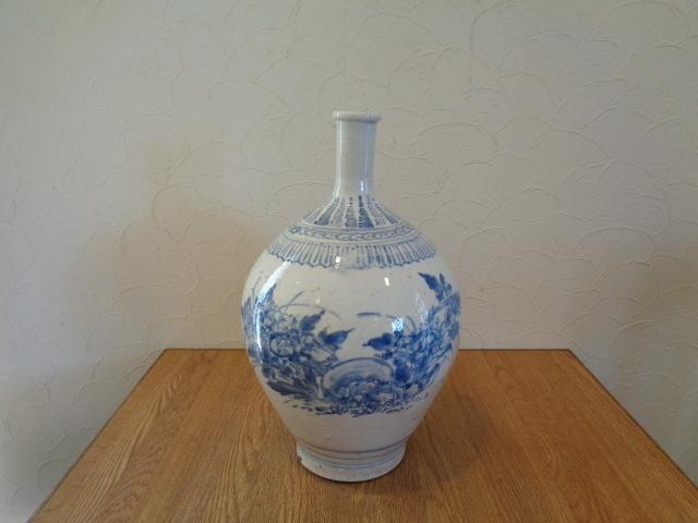 九谷焼 若杉窯 染付の大壺 花瓶