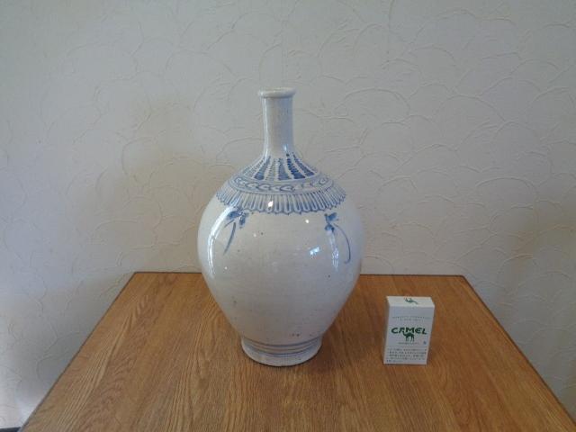 九谷焼 若杉窯 染付の大壺 花瓶 _画像3