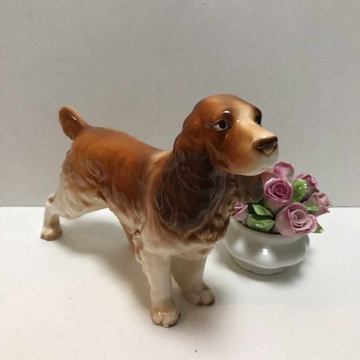 陶器の犬の置物 ビスクドールのお供に 美品コッカスパニエル_画像2