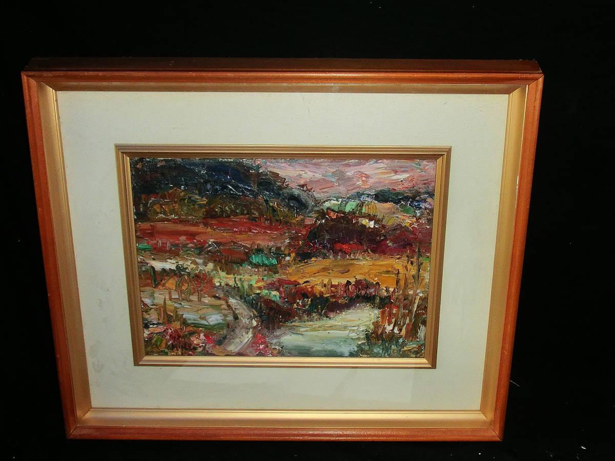 油彩額 油絵用額縁 油絵 油彩画 油彩 額縁 額 木製額 肉筆画 真筆保証 風景画 抽象的な風景画 山の中の農家 F4 4号サイズ