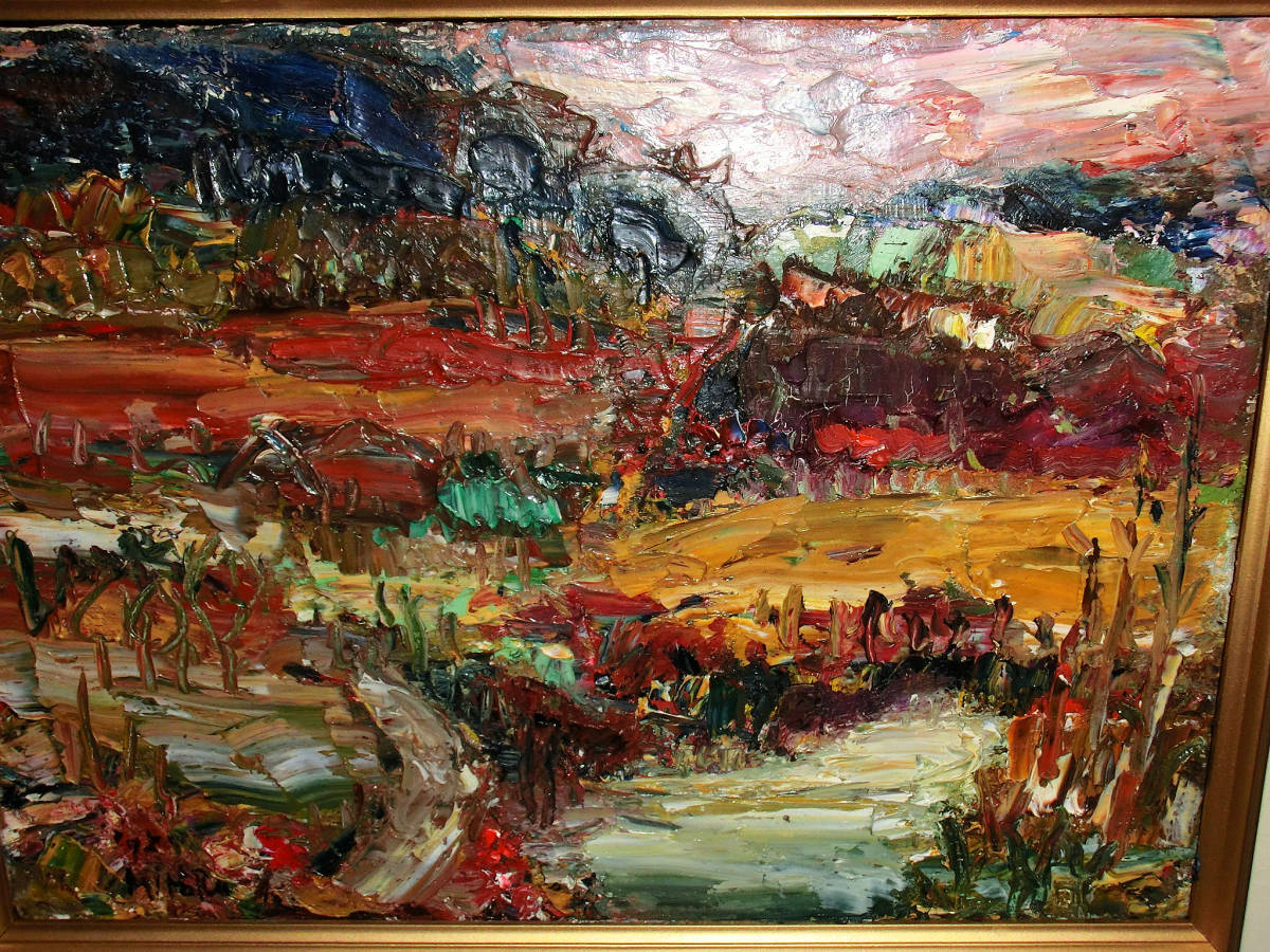 油彩額 油絵用額縁 油絵 油彩画 油彩 額縁 額 木製額 肉筆画 真筆保証 風景画 抽象的な風景画 山の中の農家 F4 4号サイズ_画像2