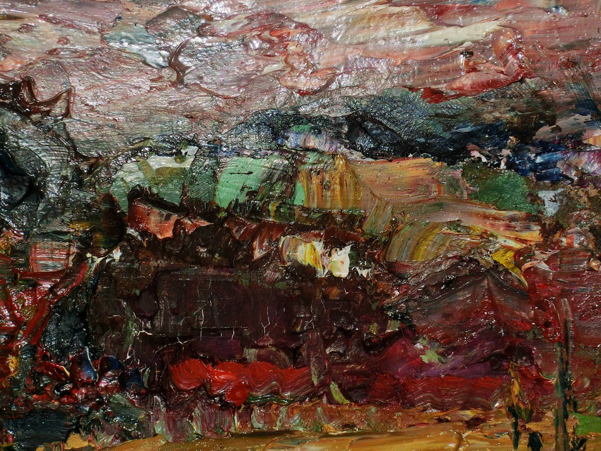 油彩額 油絵用額縁 油絵 油彩画 油彩 額縁 額 木製額 肉筆画 真筆保証 風景画 抽象的な風景画 山の中の農家 F4 4号サイズ_画像3
