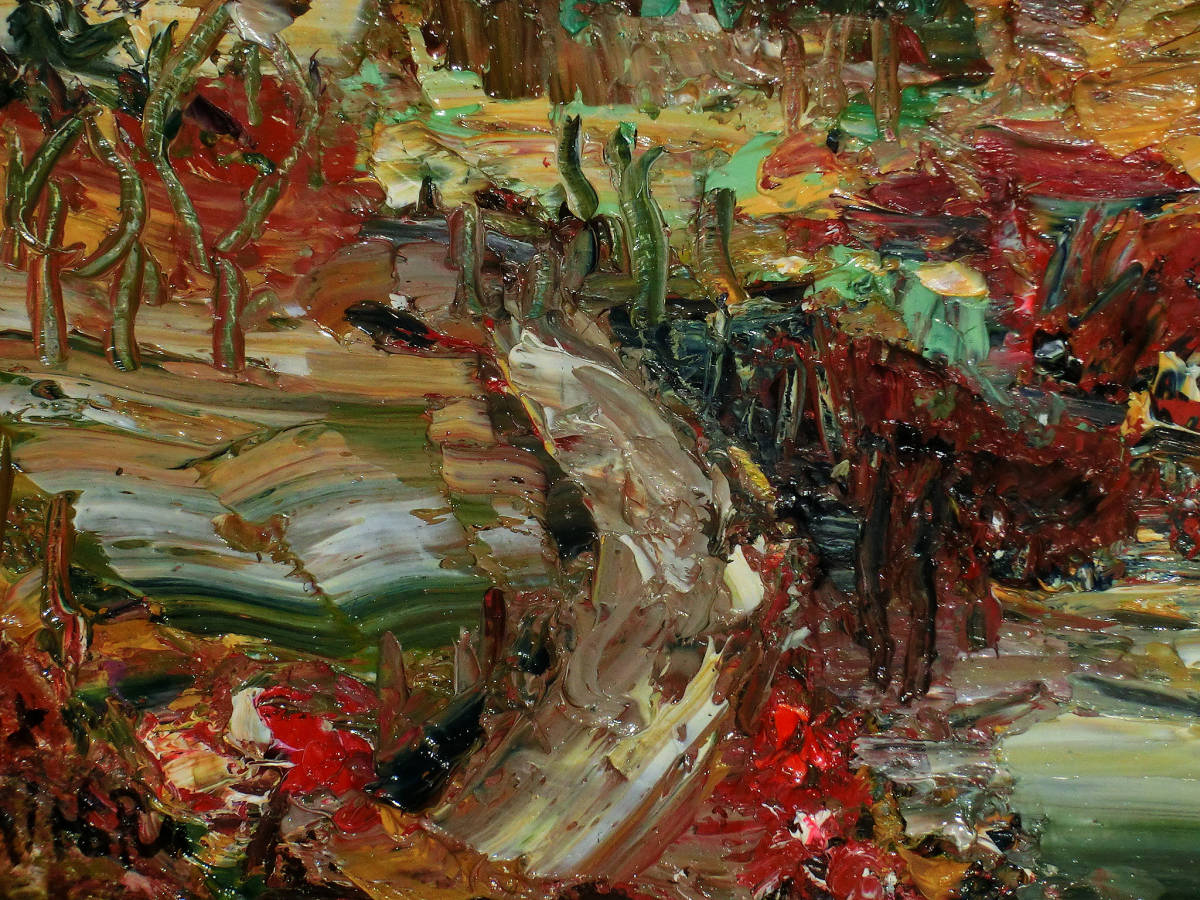 油彩額 油絵用額縁 油絵 油彩画 油彩 額縁 額 木製額 肉筆画 真筆保証 風景画 抽象的な風景画 山の中の農家 F4 4号サイズ_画像4