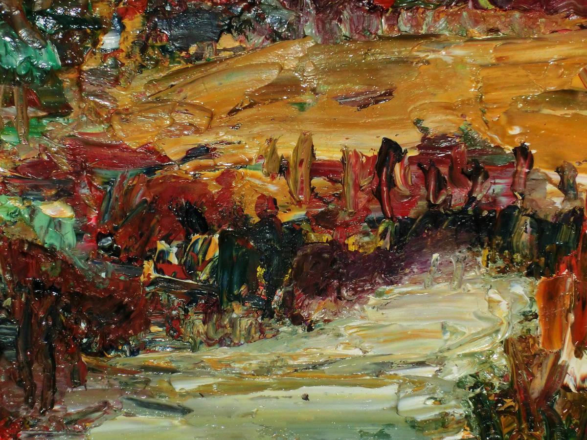 油彩額 油絵用額縁 油絵 油彩画 油彩 額縁 額 木製額 肉筆画 真筆保証 風景画 抽象的な風景画 山の中の農家 F4 4号サイズ_画像5