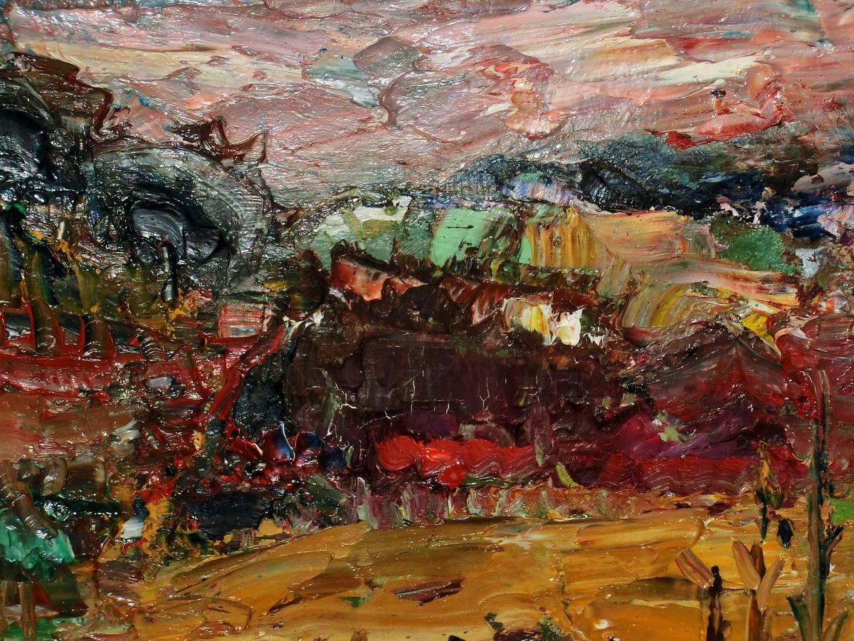 油彩額 油絵用額縁 油絵 油彩画 油彩 額縁 額 木製額 肉筆画 真筆保証 風景画 抽象的な風景画 山の中の農家 F4 4号サイズ_画像6