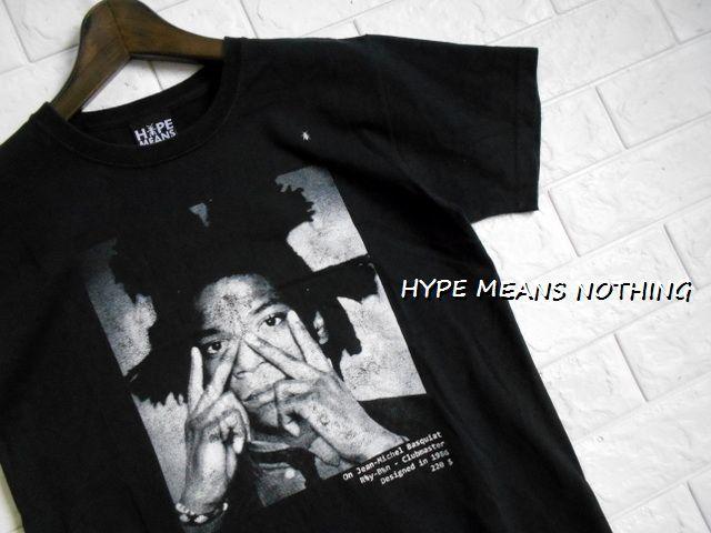 同日2点【送料無料】レア フランス製■バスキア Basquiat HYPE MEANS NOTHING ハイプミーンズナッシング Tシャツ S ブラック