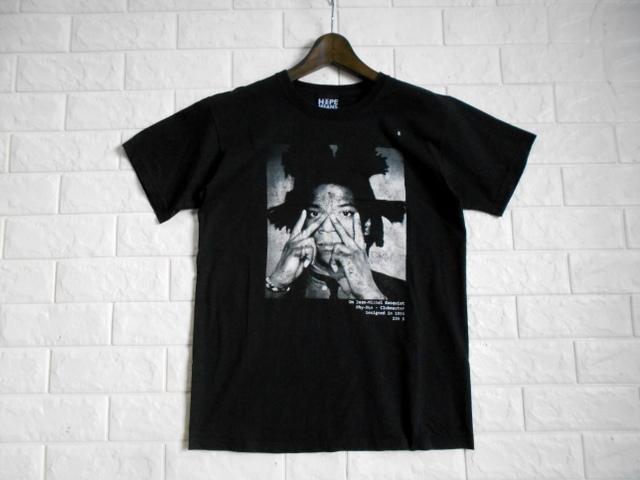 同日2点【送料無料】レア フランス製■バスキア Basquiat HYPE MEANS NOTHING ハイプミーンズナッシング Tシャツ S ブラック _画像2