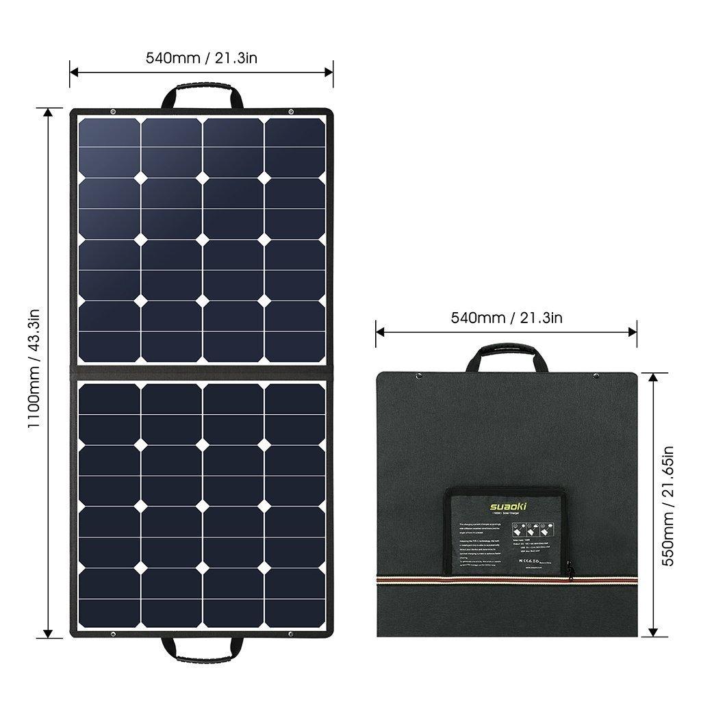 suaokiソーラーチャージャー 100W ソーラーパネル 高変換効率 折りたたみ式 USB DC(18V)出力端子 ソーラー充電器 防災 非常用_画像3
