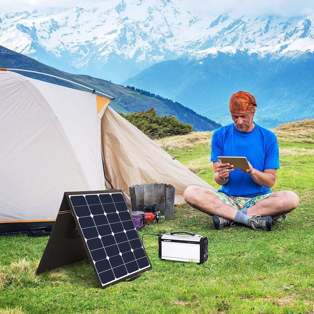 suaokiソーラーチャージャー 100W ソーラーパネル 高変換効率 折りたたみ式 USB DC(18V)出力端子 ソーラー充電器 防災 非常用_画像6
