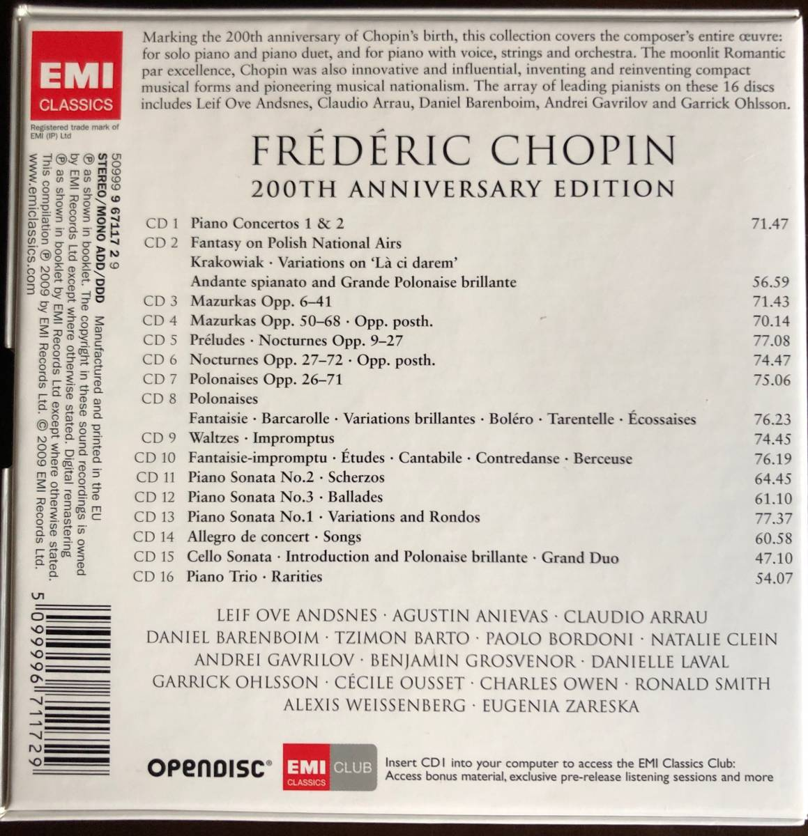 Chopin「The Complete Works 200th Anniversary Edition」EMI Classics 2009年 16枚組_画像2