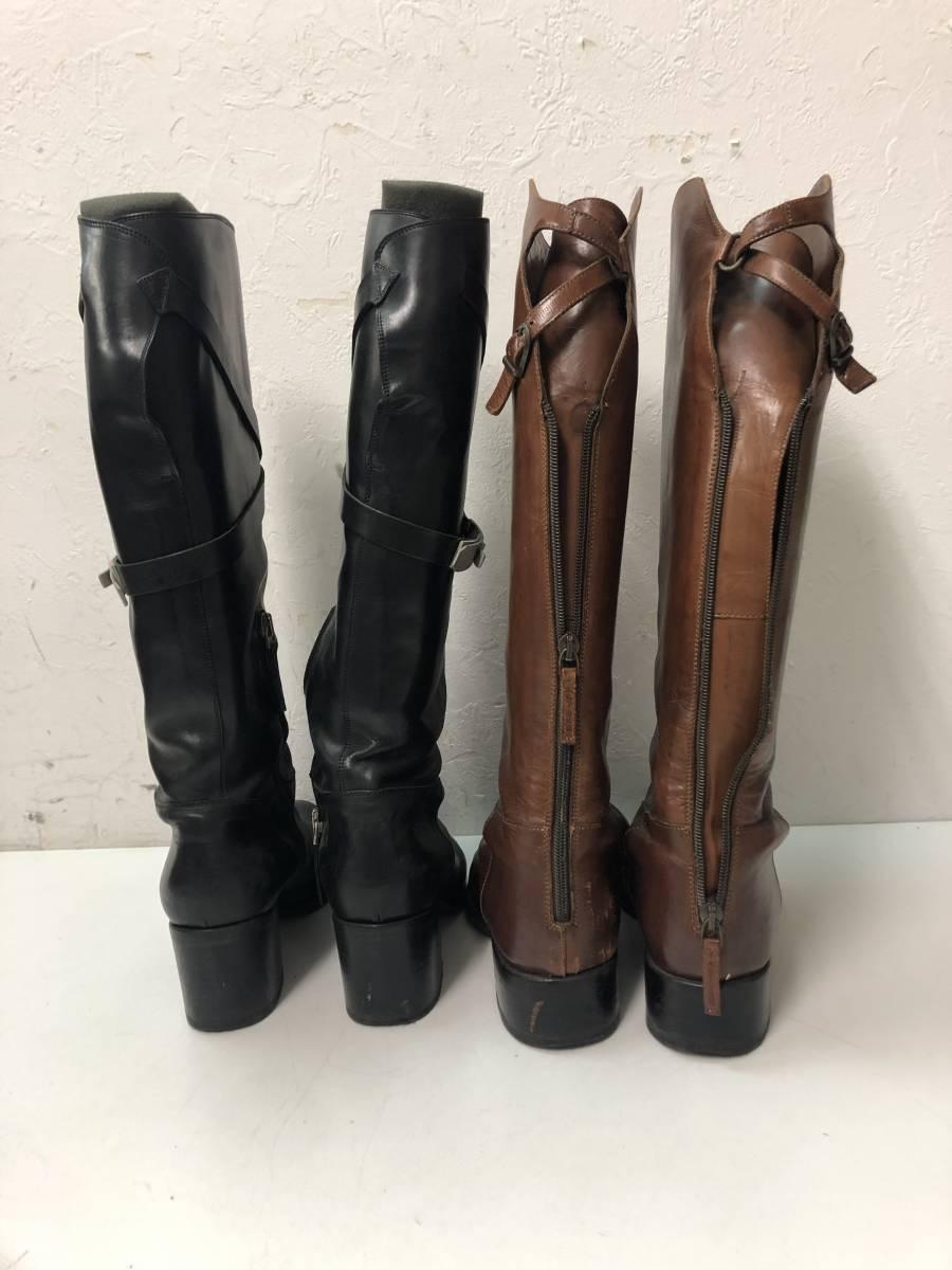 77F42319 SARTORE/サルトル ジョッキーブーツ 36 25.5~26cm 黒 茶 乗馬 ロング 2点セット_画像6