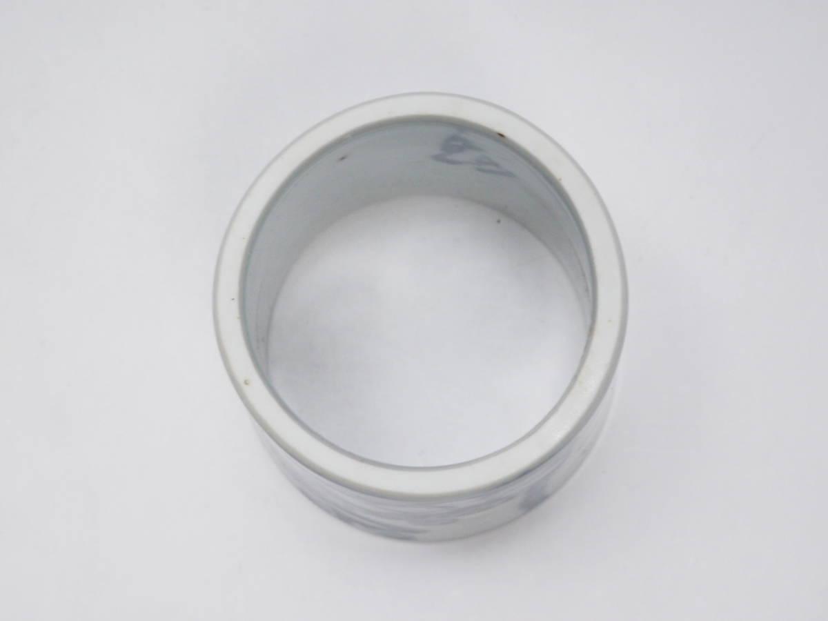Y0A0229 【 向月 作 染付輪蓋置 高5.6cm 紙箱付 無傷 在銘 】 検) 作家物 陶印有り 輪 蓋置き ふた置き 陶器 陶芸 良品 茶道具 p02_画像8