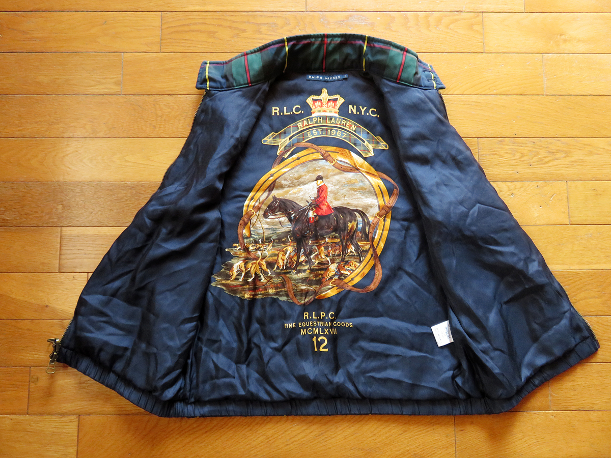 Beautiful Goods Ralph Lauren The Best Jacket Jockey Pattern Horse Riding Pattern Size 11 Lady S Check Silk Leather Real Yahoo Auction Salling