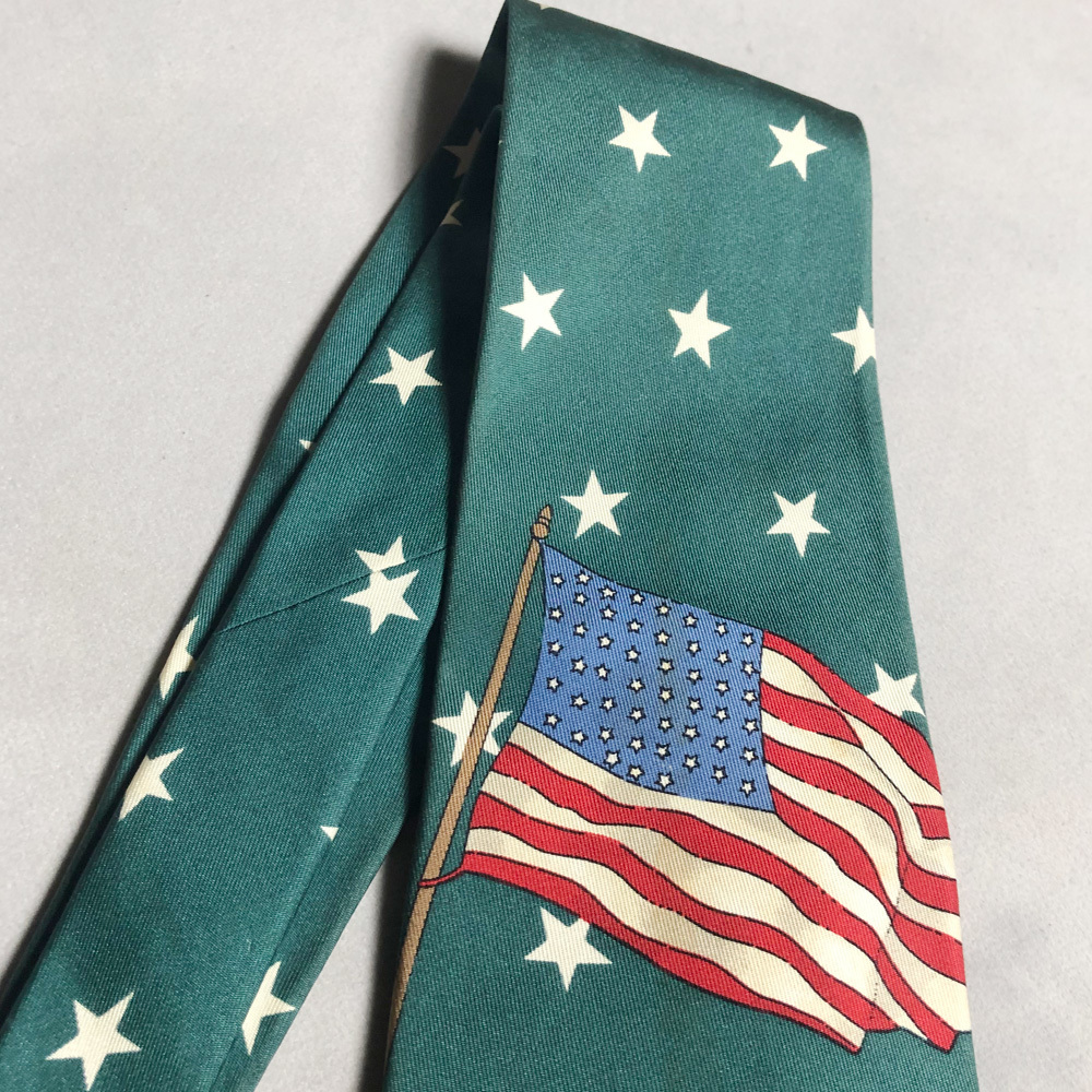 USA製 POLO Ralph Lauren STAR FLAG 星 国旗 TIE ネクタイ ポロ ラルフローレン MADE IN USA アメリカ製 VINTAGE ヴィンテージ 90年代 レア_画像3